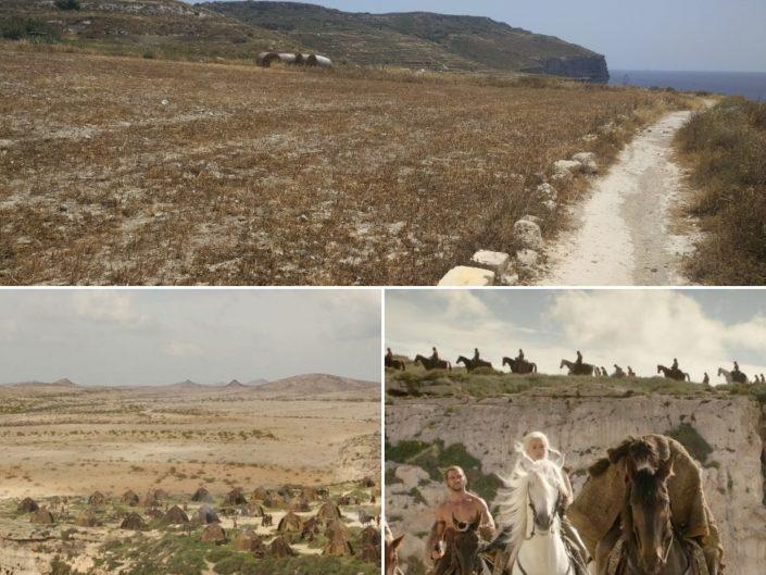 Naissance des dragons et mort de Drogo aux falaise de Mtahleb, Malte