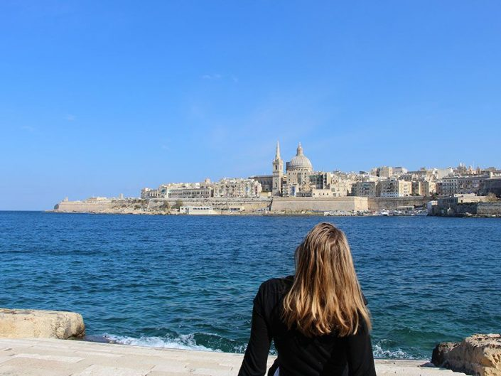 Vue sur La Valette depuis l'île de Manoel, Malte