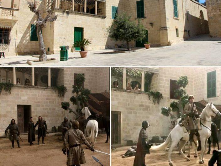 Duel entre Ned et Jaime, Game of Thones, Piazza Mesquita à Mdina, Malte.