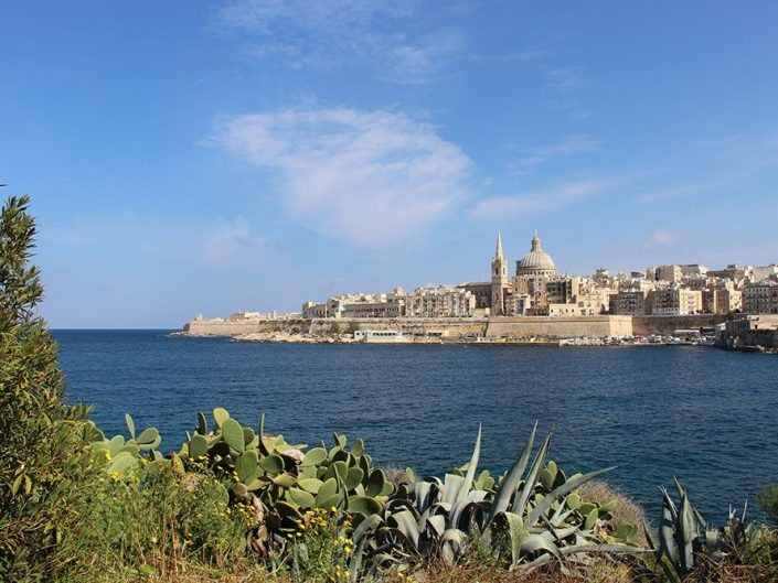 Vue sur la capitale de Malte depuis Manoel Island
