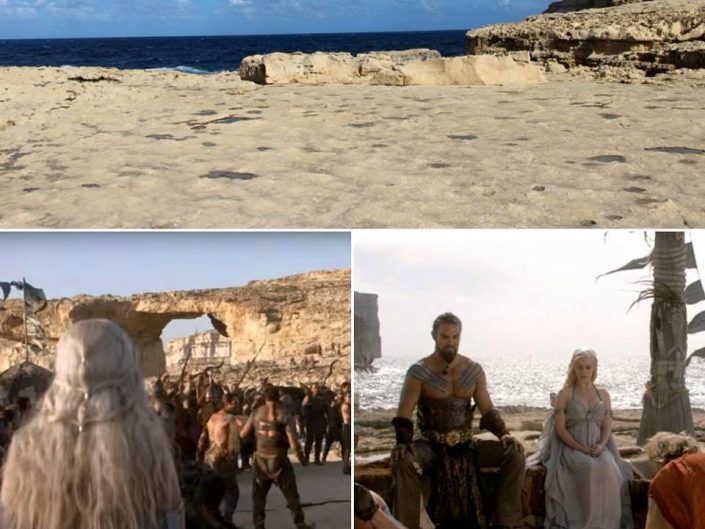 Mariage Dothraki de Daenerys et Drogo à Gozo, au pied d'Azure Window