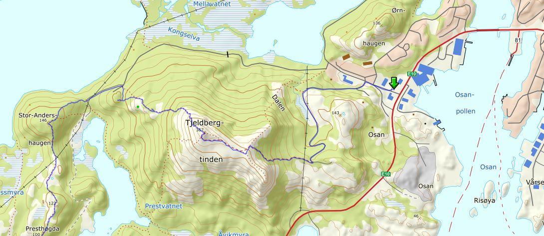 Tjeldbergtind carte de randonnée